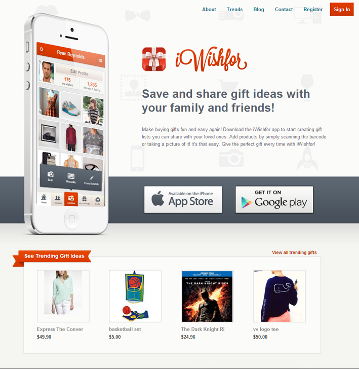 Website Capture: iWishFor Wishlist App