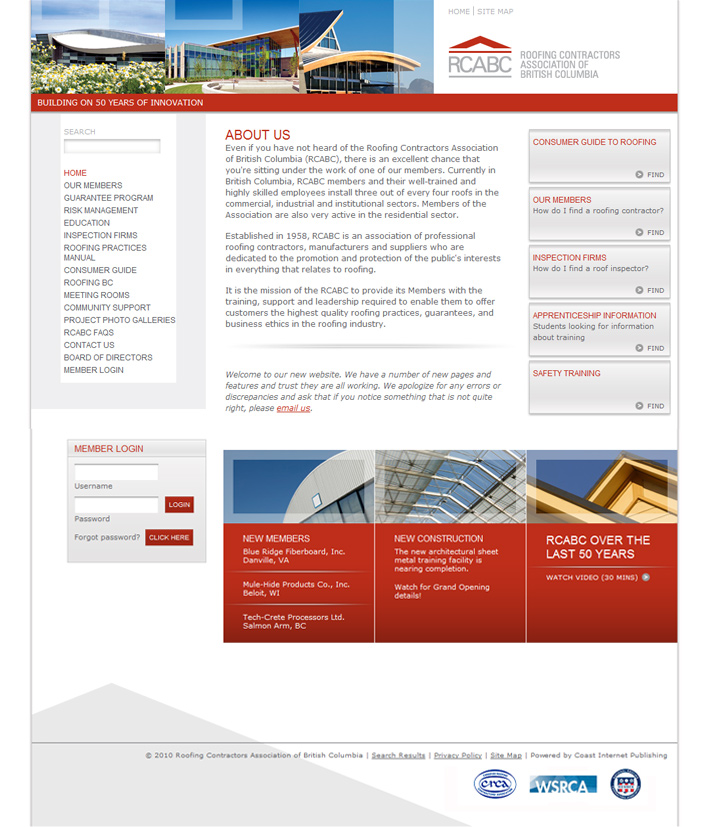 Website Capture: Roofing Contractors Association of BC