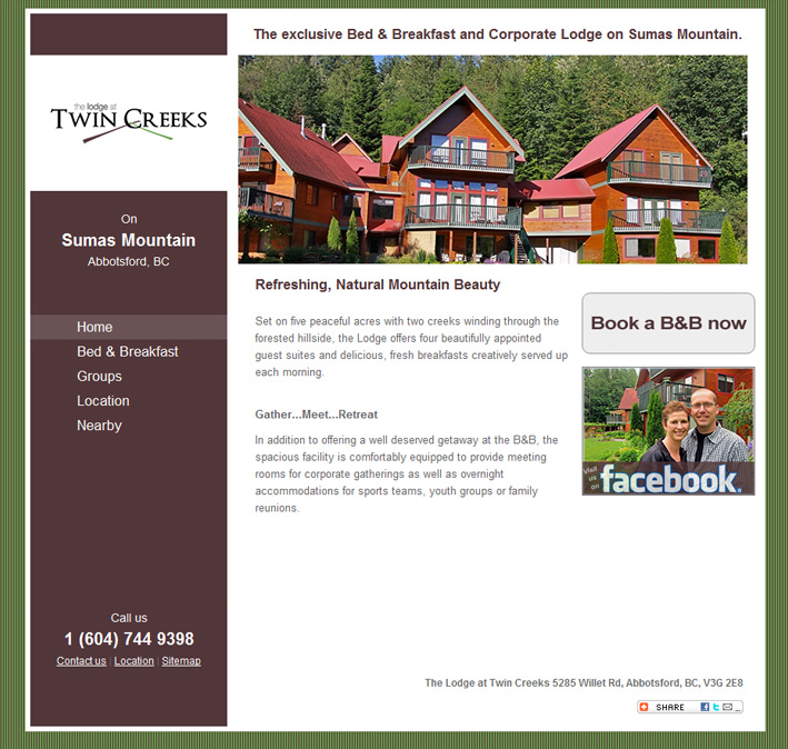 Website Capture: Lodge at Twin Creeks BB