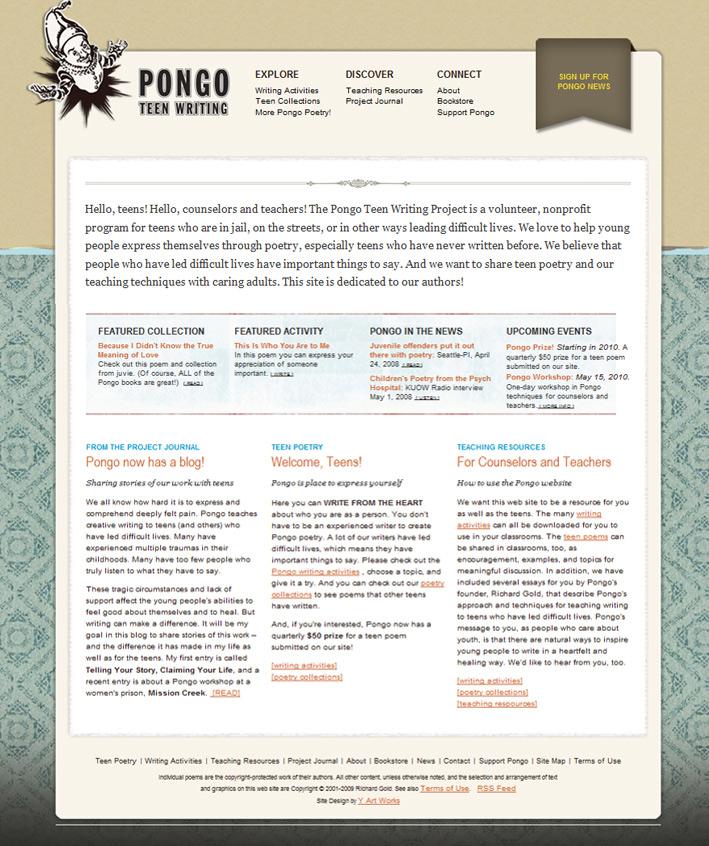 Website Capture: Pongo Teen writing