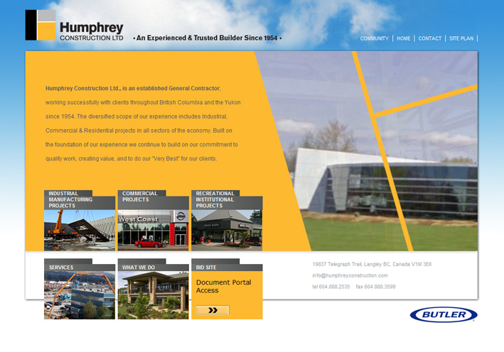 Website Capture: Humphrey Contstruction
